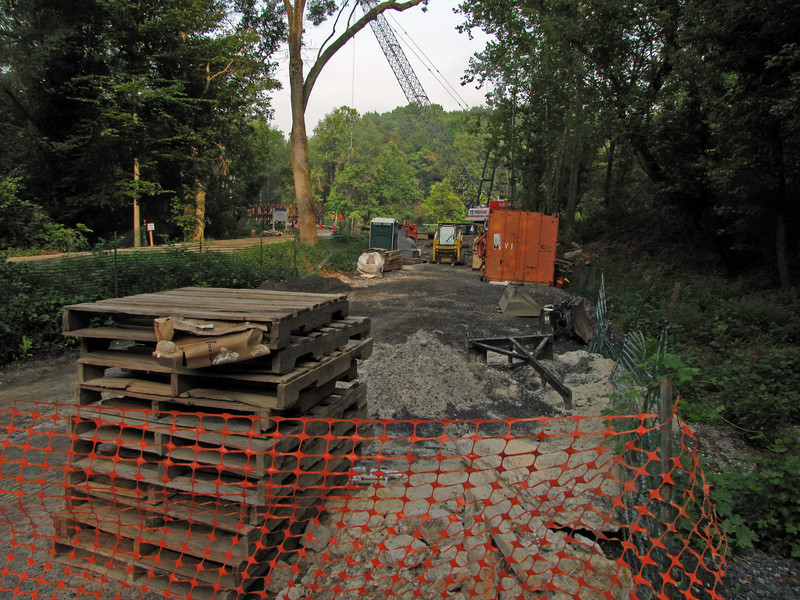 Corman Construction Company equipment stored in the old canal prism on the eastern side of Catoctin Creek.
