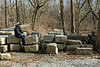 2/15/2009   Ann Schuster taking a rest on recovered Catoctin Creek Aqueduct stones on February 15, 2009.
