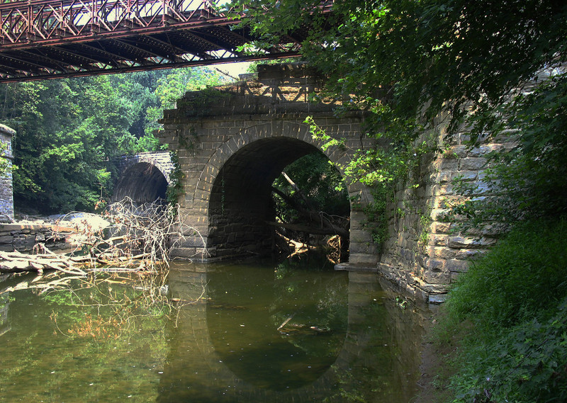 8/13/2005    Still intact eastern arch of the C&O Canal Catoctin Creek Aqueduct viewed from the downstream side.