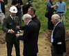 C&O Canal NHP Superintendent Kevin Brandt presents Mason's Trowels to Congressman Bartlett and Governor O'Malley.