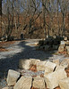 2/15/2009   Original Catoctin Creek Aqueduct cut granite stones recovered from the creek are stored here next to the towpath. Many will be reused in the aqueduct reconstruction.