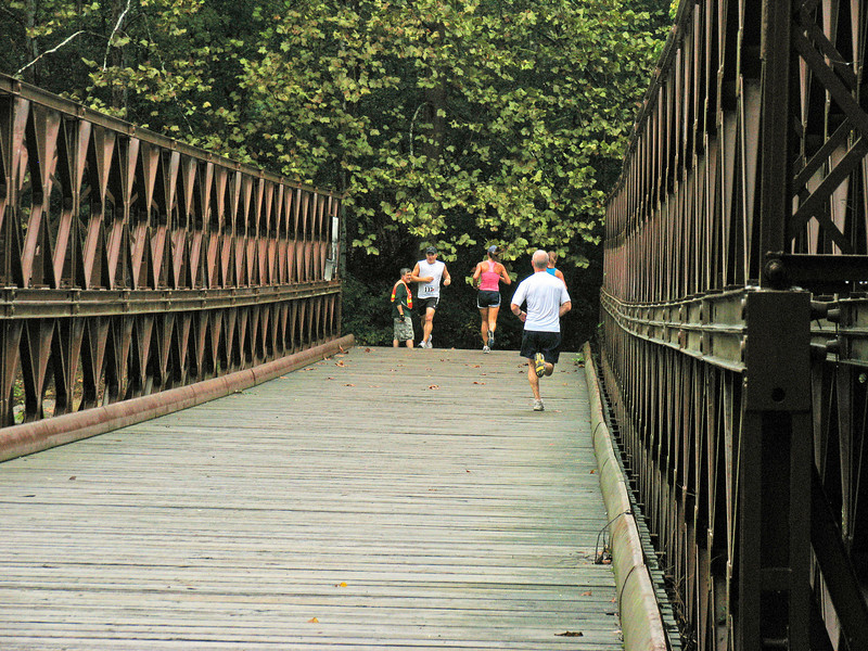 9/27/2008   Runners crossing the Bailey Bridge over Catoctin Creek during the September 27, 2008 2nd Annual Catoctin Aqueduct Benefit 10 & 5K Run-Walk.