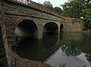 6/25/2011  The Bailey Bridge no longer rests atop the south side wing walls. It was moved over into the aqueduct prism during the night to avoid disrupting canal traffic. The Catoctin Creek Aqueduct restoration is nearing completion.