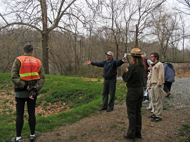 4/06/2008   Dr. George E. Lewis, President of the Catoctin Creek Aqueduct Restoration Fund met with visitors to the C&O Canal Catoctin Creek Aqueduct on April 6th, 2008 during Frederick County's Bell and History Days, a countywide event presented by the Frederick Historic Sites Consortium. Present are Park Ranger Leslie Brodhead from the C&O Canal NHP and C&O Canal Volunteer Bike Patroller Don Goodwin.