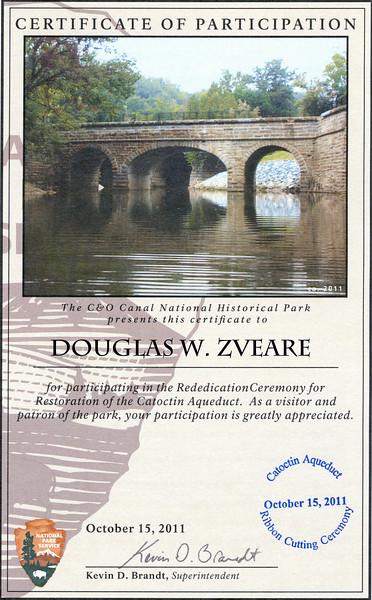 Certificate of participation - Douglas W. Zveare