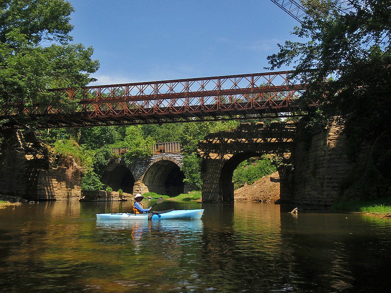 C&O Canal Association Catoctin Creek kayaker downstream of the aqueduct.