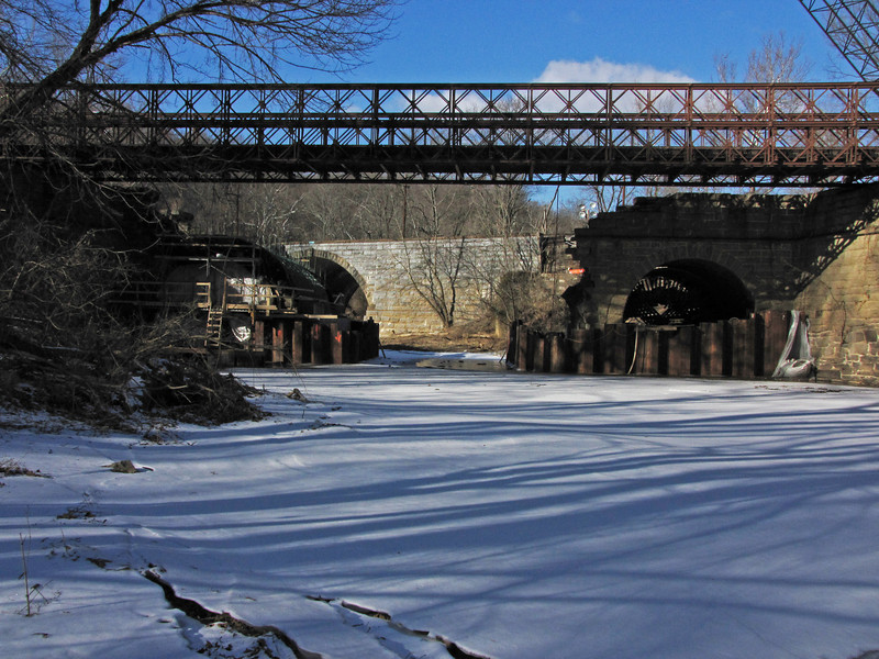 Looking north across iced over Catoctin Creek 1/09/2011.