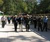Supt Kevin Brandt leads participants across the aqueduct