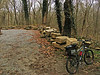 4/06/2008   Volunteer Bike Patroller Doug Zveare's Jamis bicycle parked next to many recovered stones of the Catoctin Creek Aqueduct.