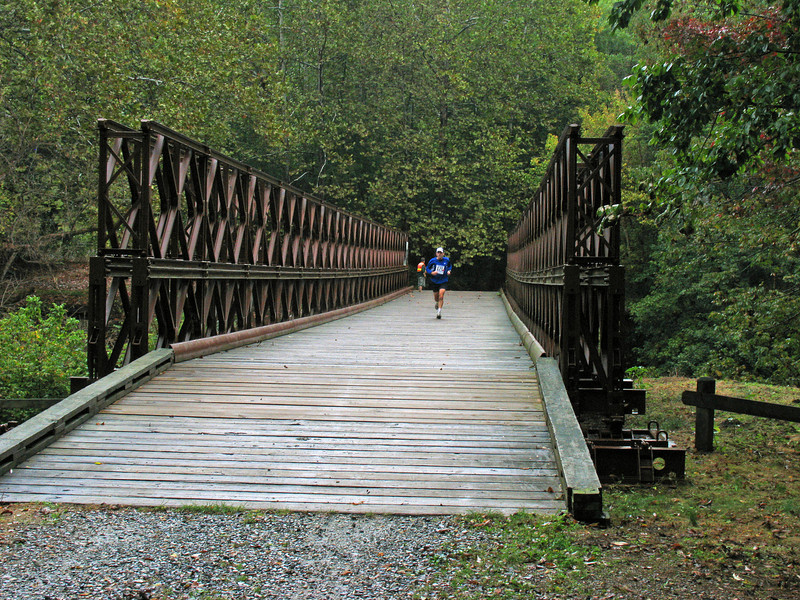 9/27/2008   Runner crossing the Bailey Bridge over Catoctin Creek during the September 27, 2008 2nd Annual Catoctin Aqueduct Benefit 10 & 5K Run-Walk.