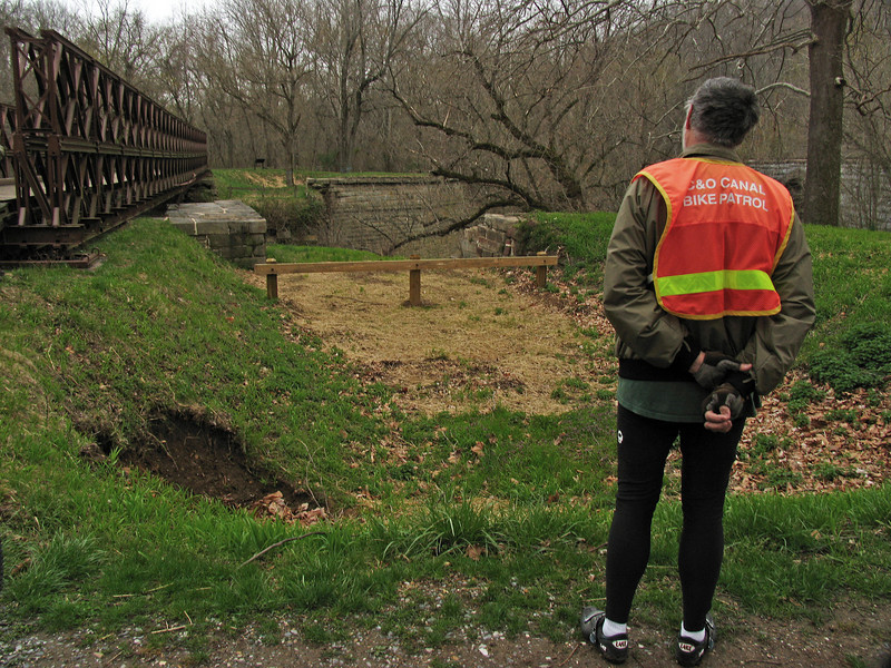 4/06/2008   C&O Canal Bike Patroller, Don Goodwin ponders the upcoming restoration of the C&O Canal Catoctin Creek Aqueduct.
