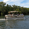 Pontoon boat heads back to Izaak Walton League on the WV side