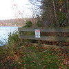 """11/11/2004  Barrier at mile 86.7 is the end of the usable towpath. For the next 1.4 miles the towpath is mostly washed away. Big Slackwater is a scenic section of the C&O Canal NHP in Washington County, Md., between Dam No. 4 (mile 84.6) and McMahon's Mill (mile 88.1). The towpath here historically followed the bank of the Potomac, allowing boats to be towed along a quiet (""""slack"""") part of the river"""