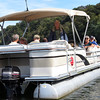Pontoon boat riders ready for the Big Slackwater tour
