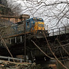 58 CSX locomotive exits Harpers Ferry tunnel