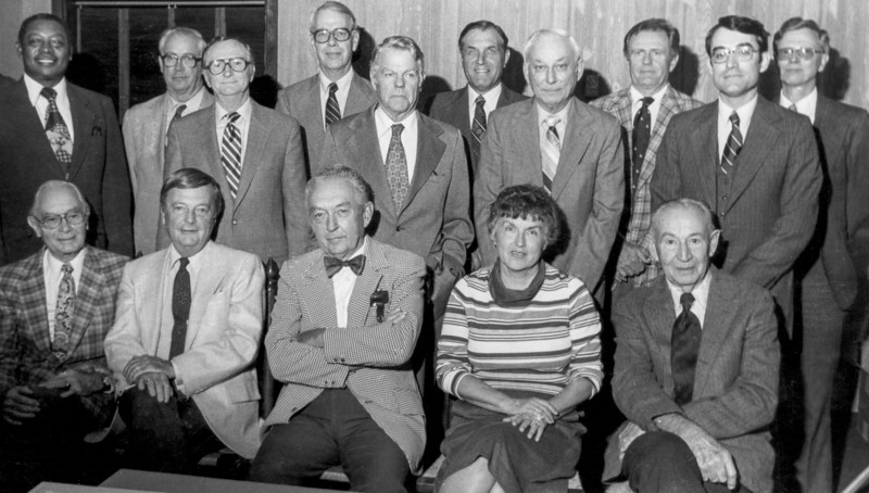 COA Foundation, Oct. 29, 1980. Directors who attended the first meeting of the foundation are shown in this photograph. A luncheon meeting was held at the Vicki Villa Restaurant. <br /> <br /> Seated, L to R: Elton Aydlett, Robert Hollowell, Walter Harlow, Winnie Wood, and Carroll Abbott.<br /> <br /> Standing, L to R: Andrew Williams, Sam Roebuck, M. G. Sawyer, Bill Gaither, Woody Foreman, James Ferebee, Ed Austin, Gilliam Wood, Parker Chesson, and Gerald Bray.<br /> <br /> Not present: Martin Kellogg, Jr. and Mac Duff.