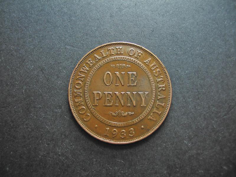 Vintage pre-decimal  Australian One Penny Coin.