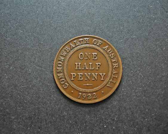 One Half Penny Vintage Australian Coin. Reverse.