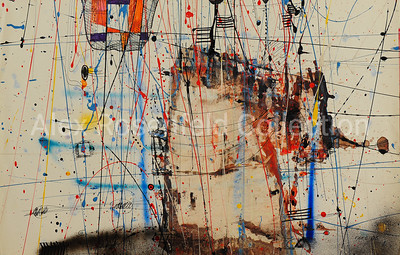 "Gleb Bogomolov ""Civilization No.206"", 1985. Paper, mixed media. 46""x72"""