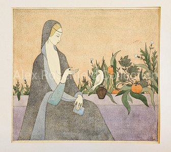 "Alena Sergeyeva ""Annunciation"", 1979. Color Etching & watercolor.  18""x20"", 1/2"