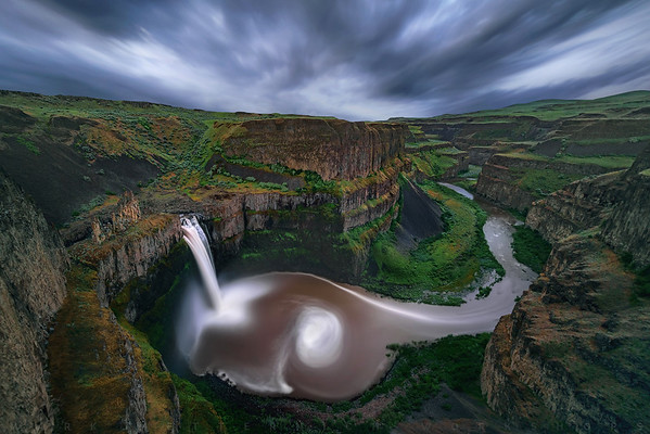 """Palouse Long"" A single 16-minute exposure (with a 16-minute in-camera dark frame to reduce noise) at twilight at this incredible 200 foot (60 meters) deafening waterfall in the unprecedented beauty of the Pacific Northwest."