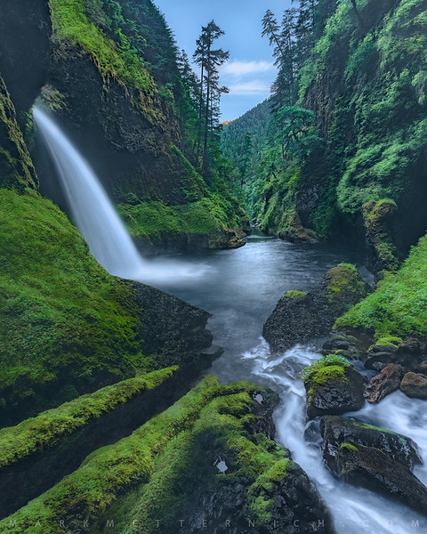 Inside Metlako Falls - Oregon (Vertical)  Limited Edition Lumachrome of only 10 images.  Story:  Just before the viewpoint fell and the wildfire hit the area, I spent about 2 years and many failed attempts to get down into the bowl of Metlako Falls at both the peak of spring green and higher river levels. Finally, the third year I found a way! Camping in the canyon and having the area to entirely to myself has been one of the most memorable moments in my photo career thus far. I will never forget it! I did two more trips into the bowl just before the changes hit the area. This is a ROARING 100+ foot (30+meters) waterfall and the noise was so loud I had to wear earplugs!