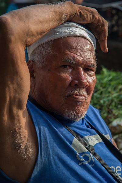 Vendor displays his wares at the Basutro Market.