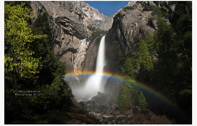 Moonbows or lunar rainbows,  amazing colors seen in Yosemite Falls by the light of the full moon Lunar Spraybows