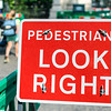 Look righ street sign for pedestrians in London