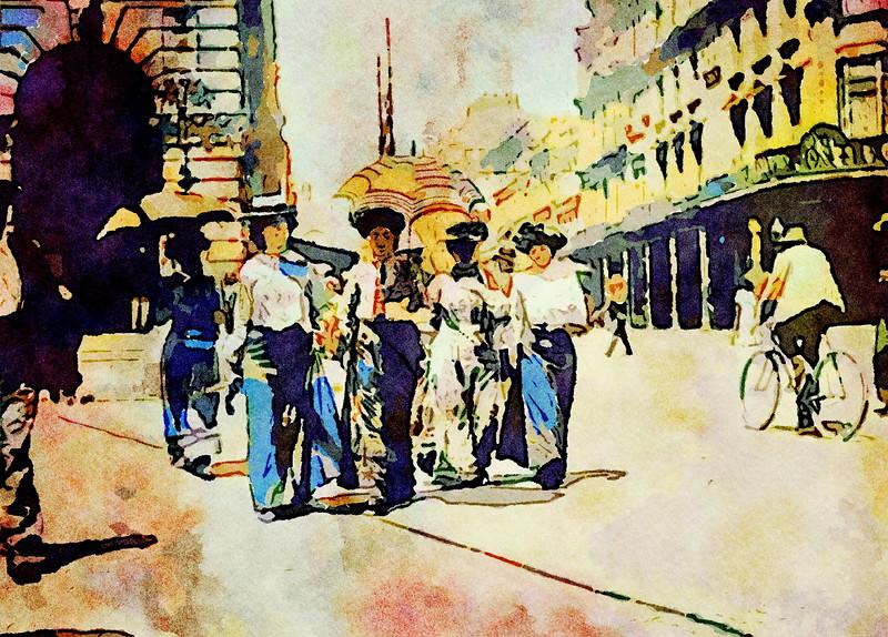 A group of women walking along George Street, Sydney 1900.