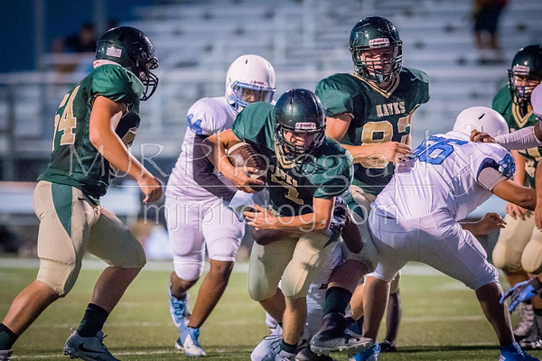 Canyon Lake Hawks JV Football defeats the Austin Reagan Raiders (non-conference) 36 - 0.  [Sep. 6, 2017]