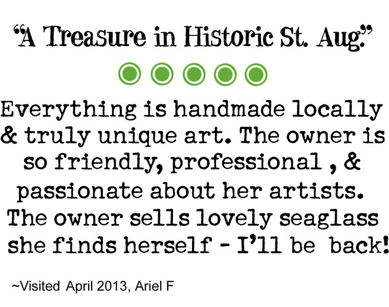 TRIP ADVISOR reviews of High Tide Gallery from our customers. We appreciate the time each person took to let the world know about their experience visiting and shopping with us! Thank you everyone! :) It means a lot to us!  WRITE A REVIEW:  http://www.tripadvisor.com/Attraction_Review-g34599-d1784160-Reviews-High_Tide_Art_Gallery-Saint_Augustine_Florida.html