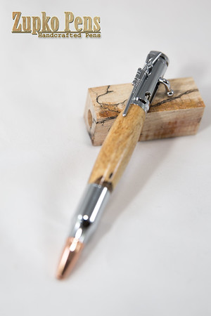 Bolt Action Click Pen- Silver w/ Northern Maple, $40