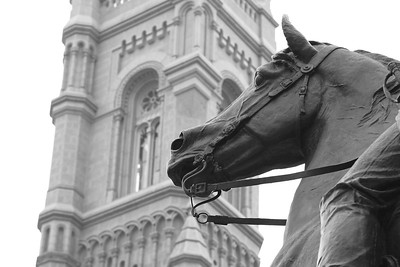 Horse and Rider Statue in Front of Church, Philadelphia PA
