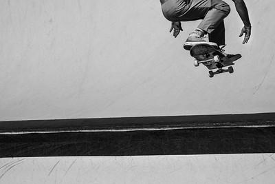 Skateboarder in flight