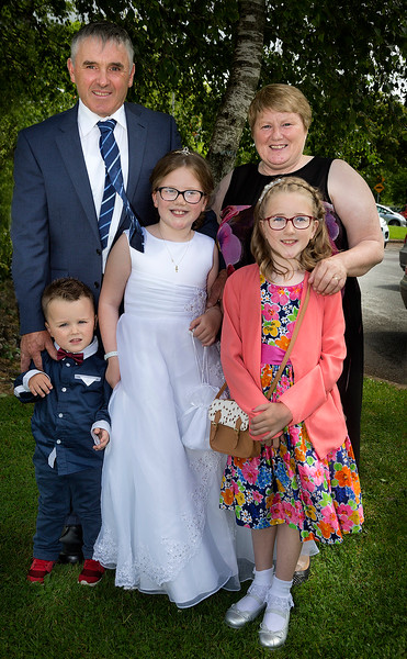EEEjob 27/05/2017 First Communion at Christ of our Light Church, Ballincollig . Pictured,  Alannah Manley from Ballincollig after receiving her first communion at Christ of Our Light Church, Ballincollig on Saturday also pictured parents Michael and Patricia with siblings Tommy and Aaliyah. Picture: Andy Jay