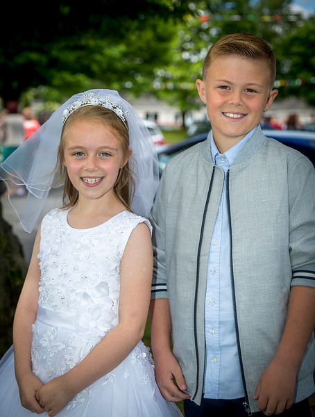 EEEjob 27/05/2017 First Communion at Christ of our Light Church, Ballincollig . Pictured,  Deirdra O;Mahoney from Ballincollig after receiving her first communion at Christ of Our Light Church, Ballincollig, with her brother Brian on Saturday.  Picture: Andy Jay