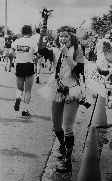 Rosaline Vigil cheers on the runners in the 1983 Bolder Boulder.