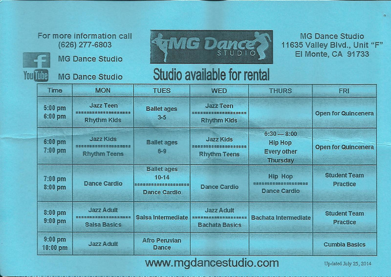 MG DANCE STUDIO  7-30-2014