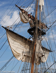 COLOR PRINT - UNASSIGNED - 1ST PLACE - FURLING THE SAILS OF A TALL SHIP - TED GIENCKE