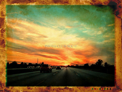 DIGITAL COLOR - LEVEL 2 - TIED FOR 2ND. PLACE - DRIVING INTO THE SUNSET - STAN LIPSKI