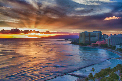 PRINT - COLOR - ADVANCED - SILVER - WAIKIKI SUNSET - BOBBIE RAY