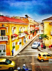 DIGITAL-CREATIVE-SILVER-CARTAGENA, COLOMBIA SIDE STREET-STAN LIPSKI
