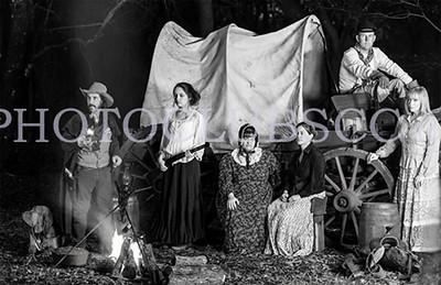 PRINT-MONO-MASTER-GOLD-CAMPFIRE AT DRY CREEK-JACKIE HANSON