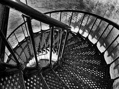 PRINT-MONO-LEVEL 2-GOLD-SPIRAL STAIRCASE-KATHY GRIFFITH