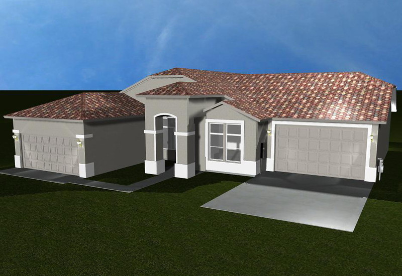 3D VIEW WITH NEW GARAGE ADDITION