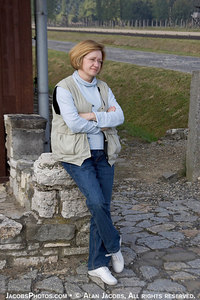 Krystyna Jacobs at Birkenau ramp, 2004. She is responsible for doing the technical work on the virtual tour. She also assisted in the shoot.