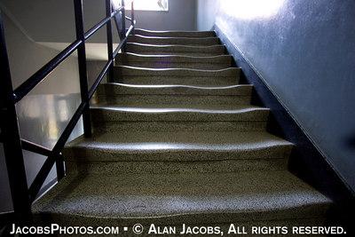 Auschwitz I, stairs to model of the gassing process in Birkenau's Krematorium II. See  http://www.remember.org/auschwitz/bir.php?id=12