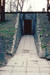 Entrance to the gas chamber at Krematorium I, Auschwitz, 1979