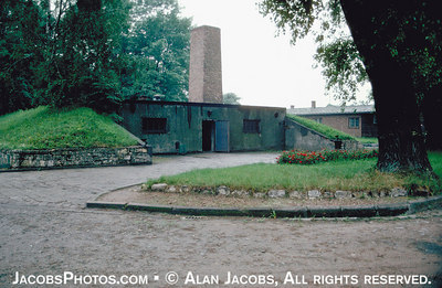The only remaining intact gas chamber and crematorium: Krematorium I, Auschwitz. photo 1979